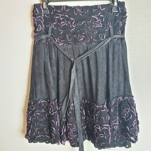 FEIYUE black & purple belted skirt L